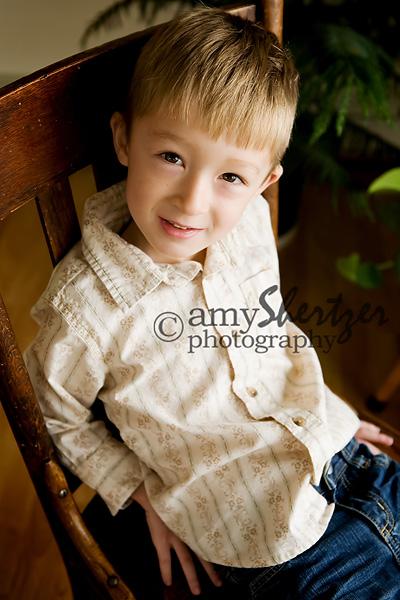Posing in a chair for Bozeman preschool photos