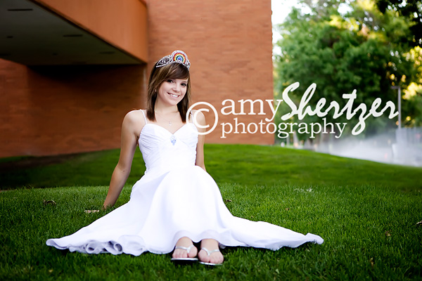 Posing in a formal gown on Montana State University's campus