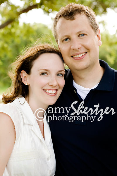 Husband and wife smile on their anniversary