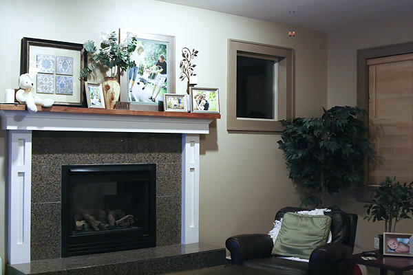 Photos displayed in a family room
