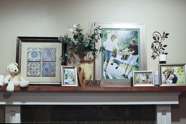 Display on a fireplace mantle