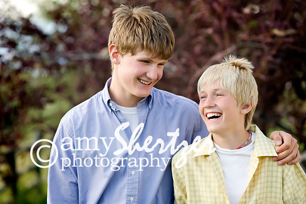 Two brothers share a laugh
