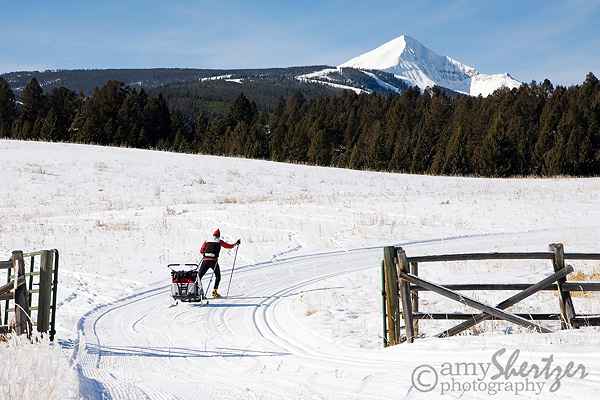 Cross-country skiing at Lone Mountain Ranch in Big Sky, MT, Chariot, skiing with kids
