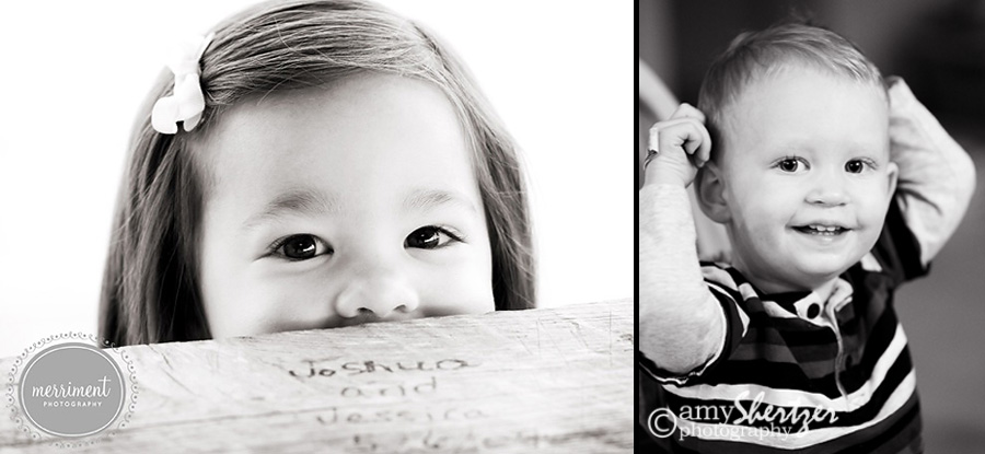 Black and white photos of children