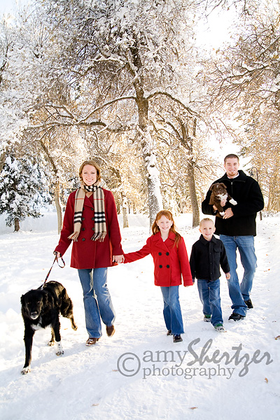 A Bozeman, Montana family walks through a winter wonderland of snow.