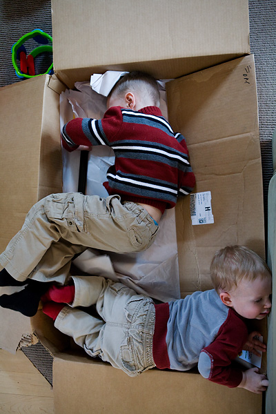 Two boys have fun playing in a cardboard box.