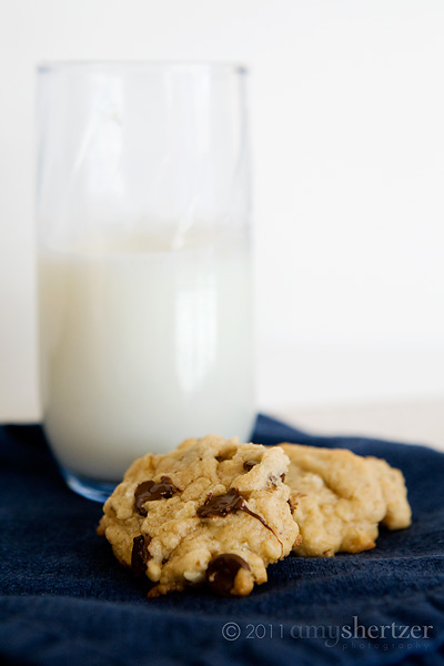 The perfect treat--chocolate chip cookies and a tall glass of milk.
