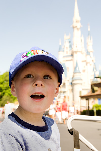 Sheer joy at the Magic Kingdom in front of Cinderella