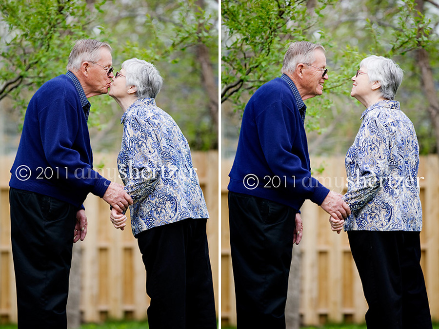 A couple shares a kiss and a smile in Bozeman, Montana.