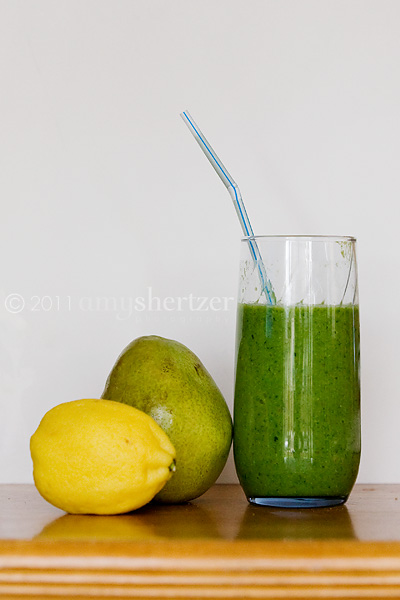 A green smoothie tastes fresh with the addition of pear and lemon.
