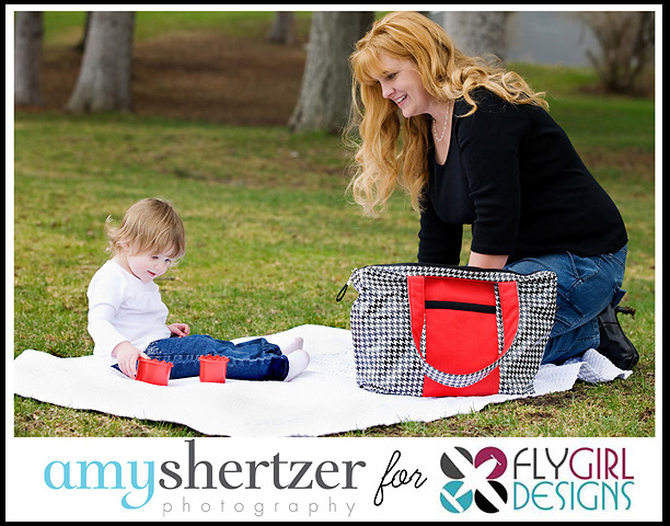 Amy Shertzer Photography photographing Fly Girl Red and Black Diaper Bag